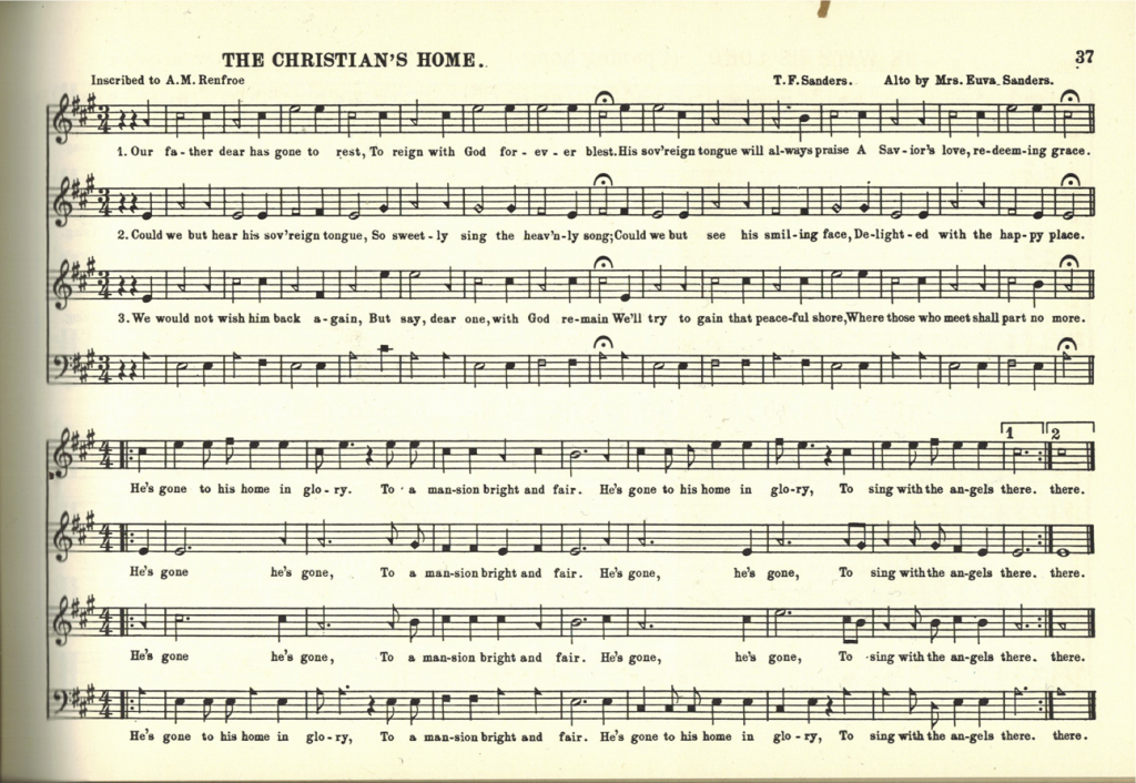 """The Christian's Home,"" page 37 of The B. F. White Sacred Harp, 1960."