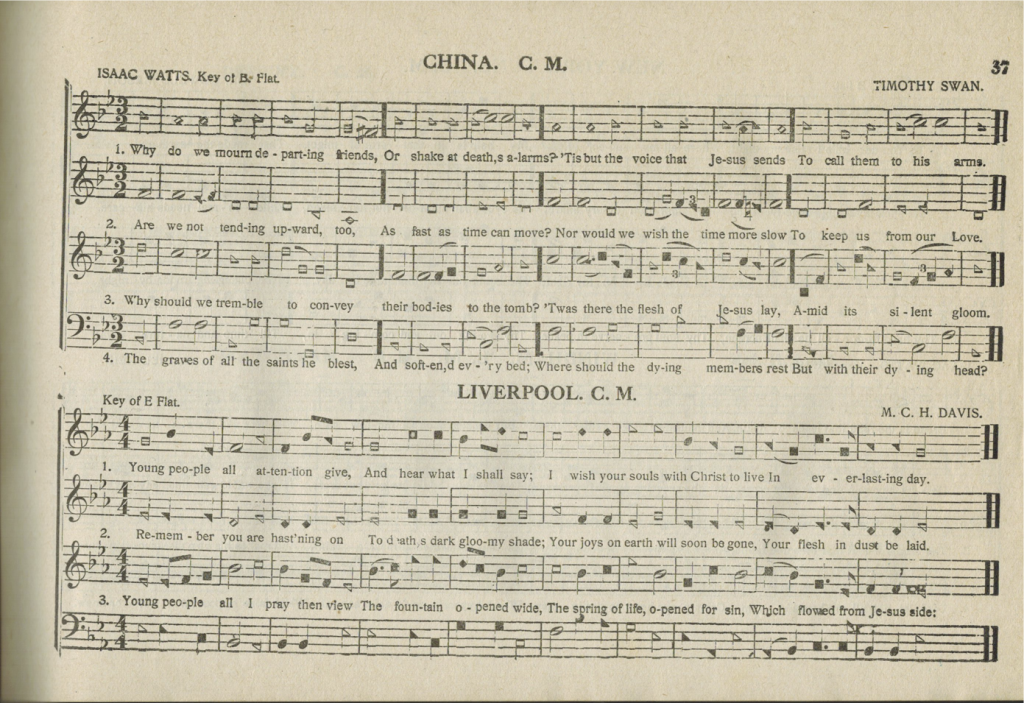 """China"" and ""Liverpool,"" page 37 in The Sacred Harp, ""Fourth Edition, with Supplement,"" 1911."